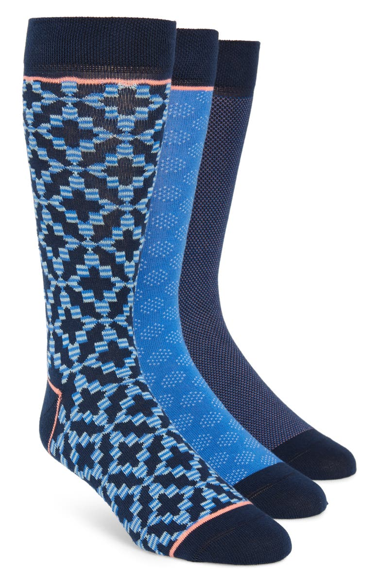 TED BAKER LONDON 3-Pack Geometric Socks, Main, color, 400