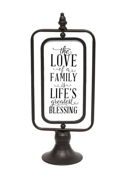 """Image of Stratton Home Black """"The Love of a family"""" Metal Table top"""