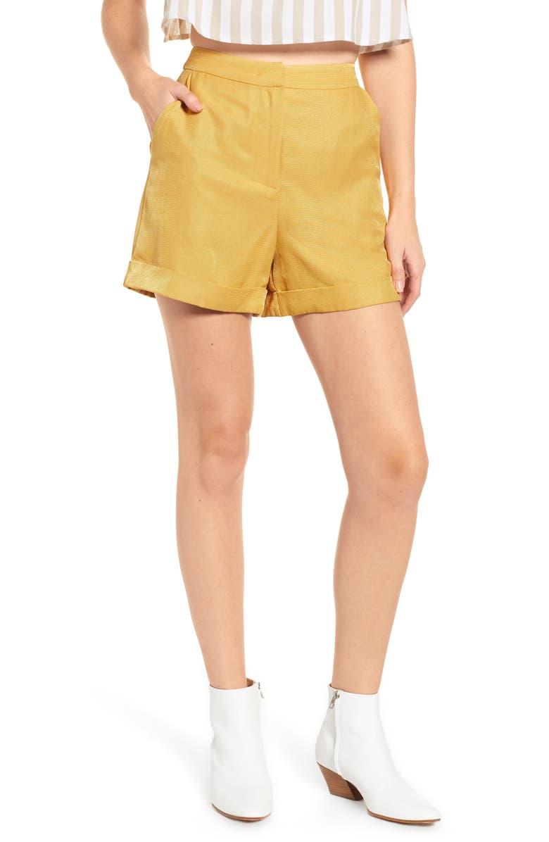 ENGLISH FACTORY Cuffed Shorts, Main, color, YELLOW
