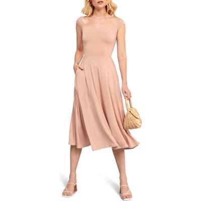 Reformation Marci Off The Shoulder Fit & Flare Dress, Pink