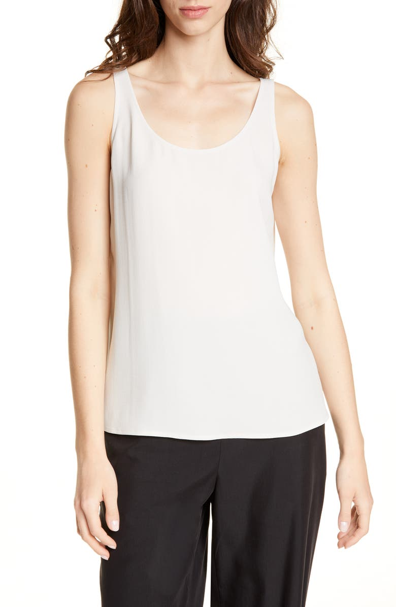 EILEEN FISHER Scoop Neck Silk Tank, Main, color, BONE