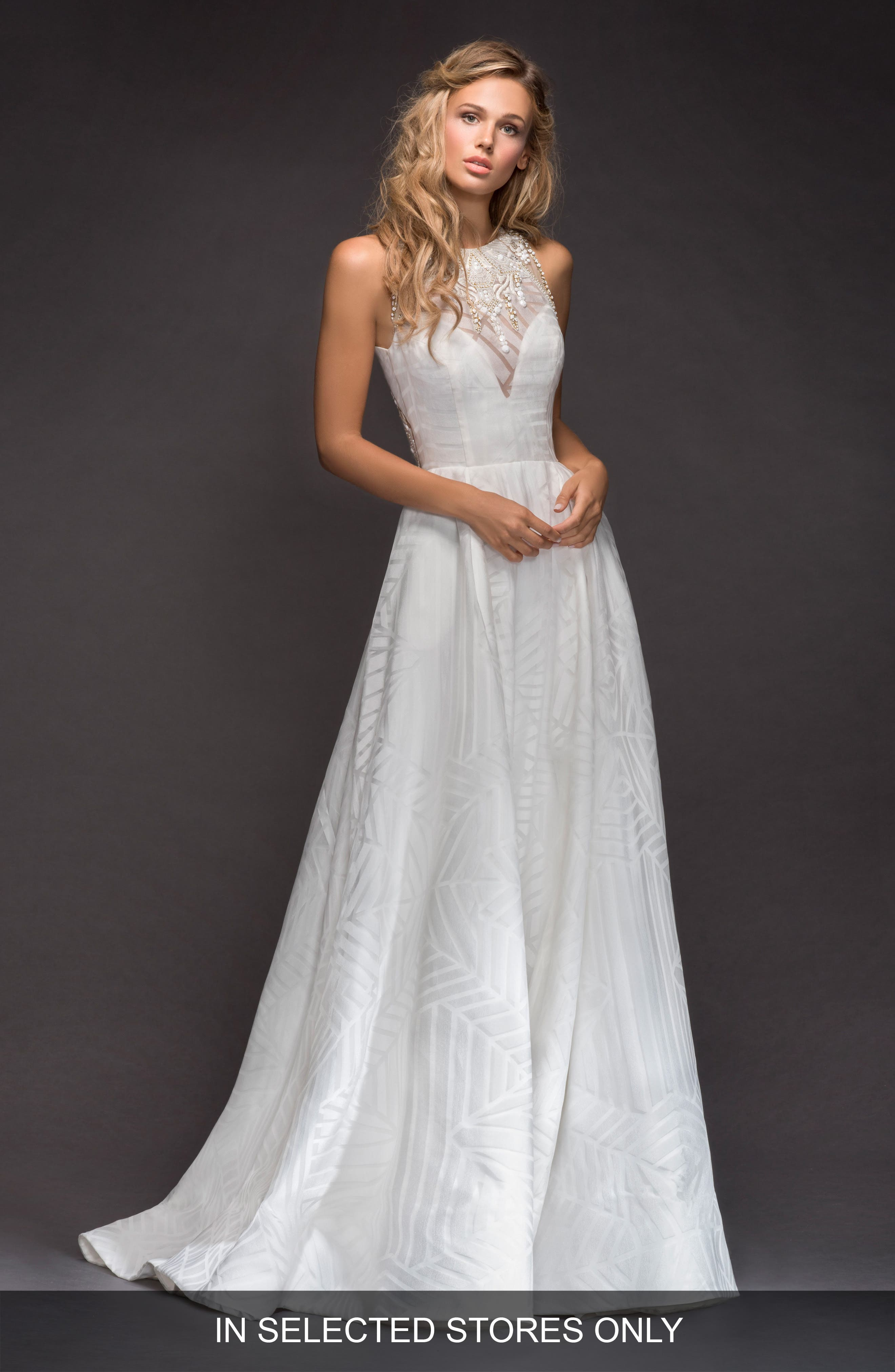 Hayley Paige Nirvana Geometric Organza Ballgown, Size IN STORE ONLY - Ivory