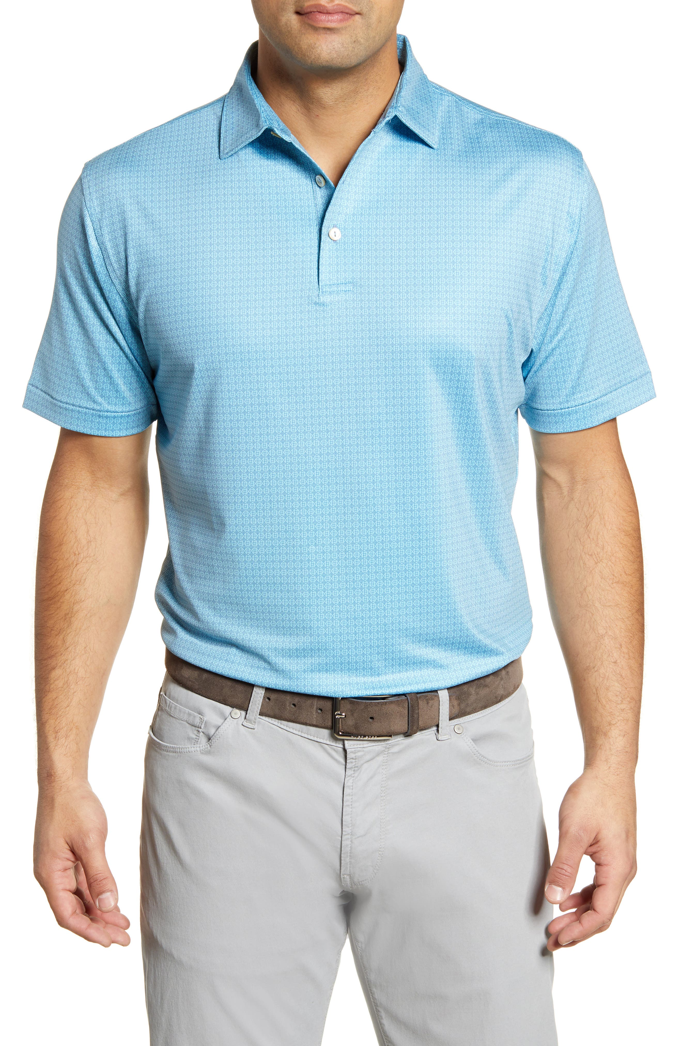 Image of Peter Millar Spanish Tile Printed Jersey Polo Shirt