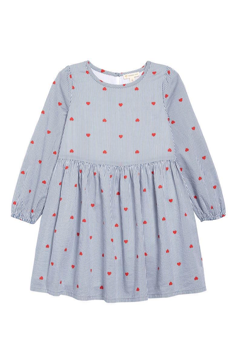 TUCKER + TATE Heart Stripe Dress, Main, color, BLUE CHINOISE HEART STRIPE