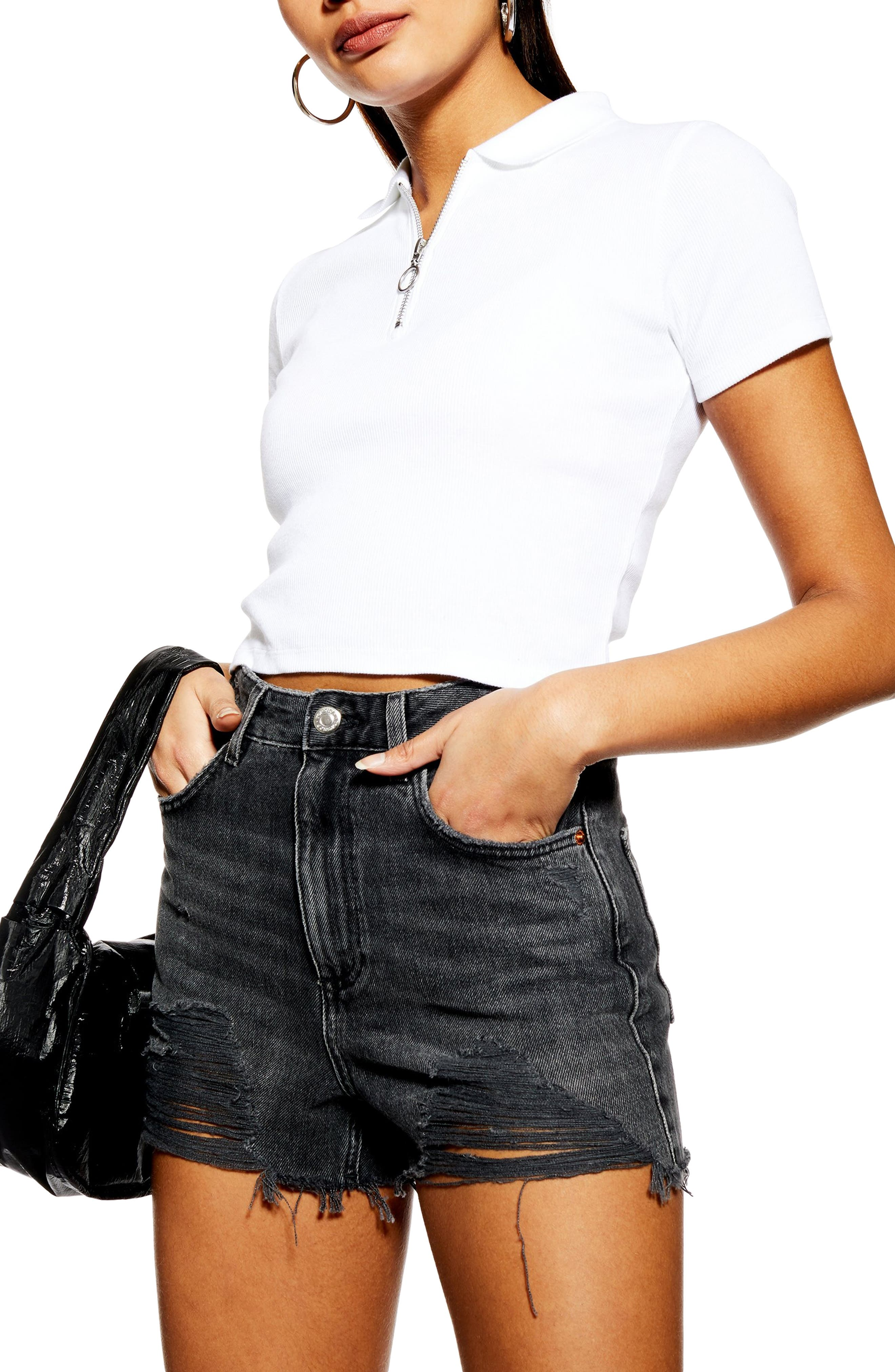 ,                             Ripped Mom Denim Shorts,                             Alternate thumbnail 4, color,                             WASHED BLACK