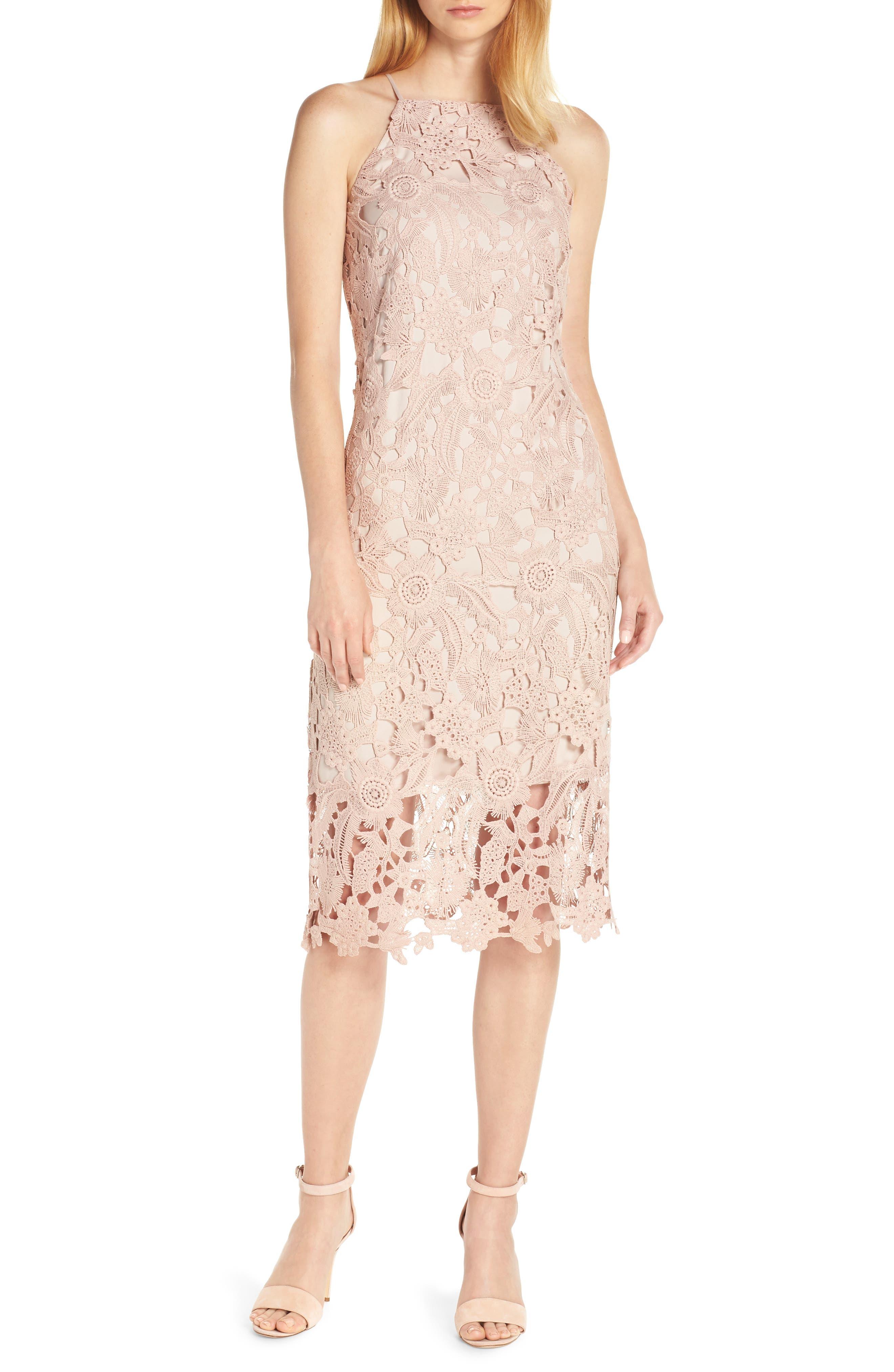 Sam Edelman Halter Top Lace Dress, Pink