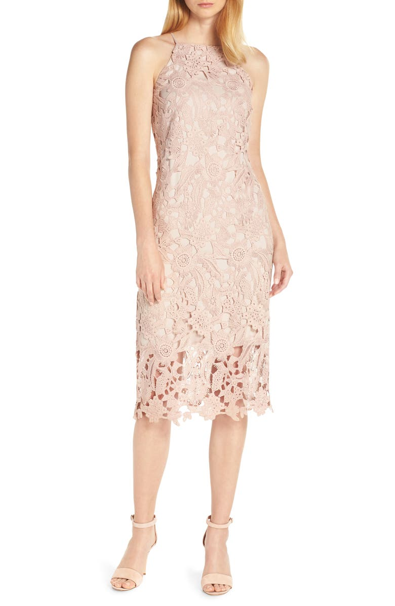 SAM EDELMAN Halter Top Lace Midi Dress, Main, color, BLUSH