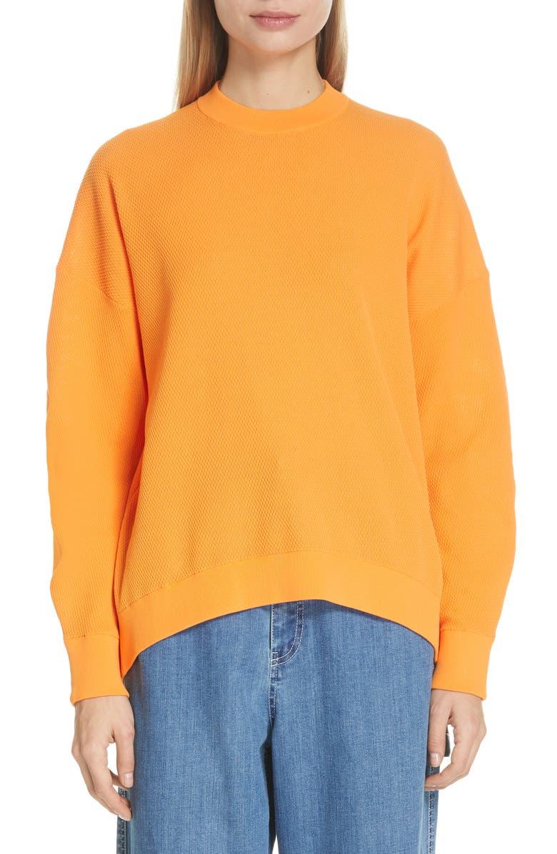 TIBI Lightweight Tech Sweater, Main, color, TANGERINE