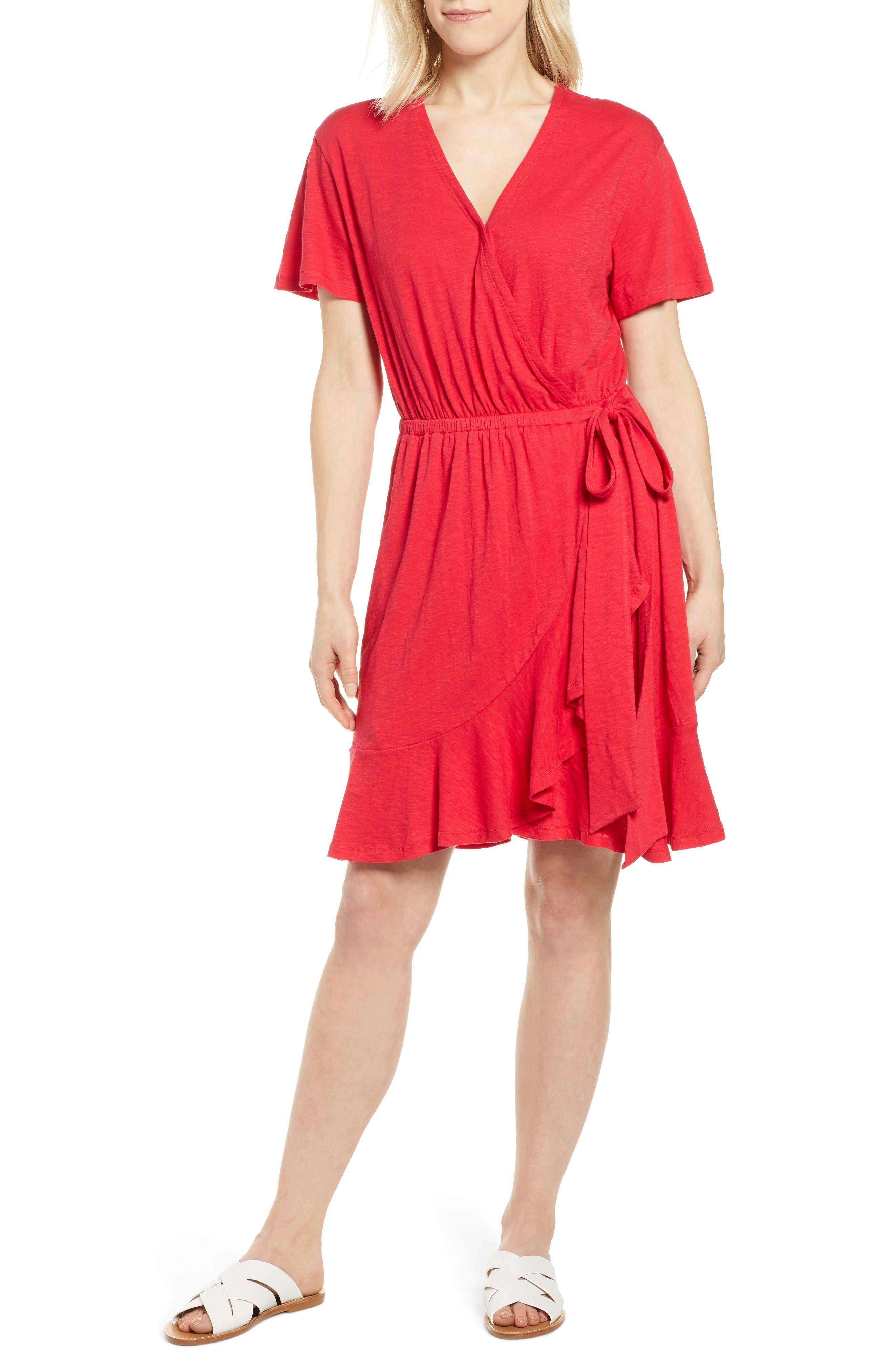 Petite Caslon Asymmetrical Hem Faux Wrap Dress, Red