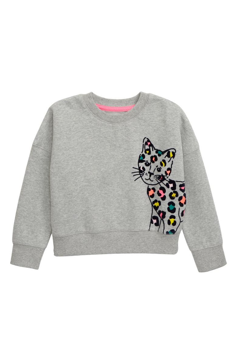 MINI BODEN Flocked Animal Fleece Sweatshirt, Main, color, 034