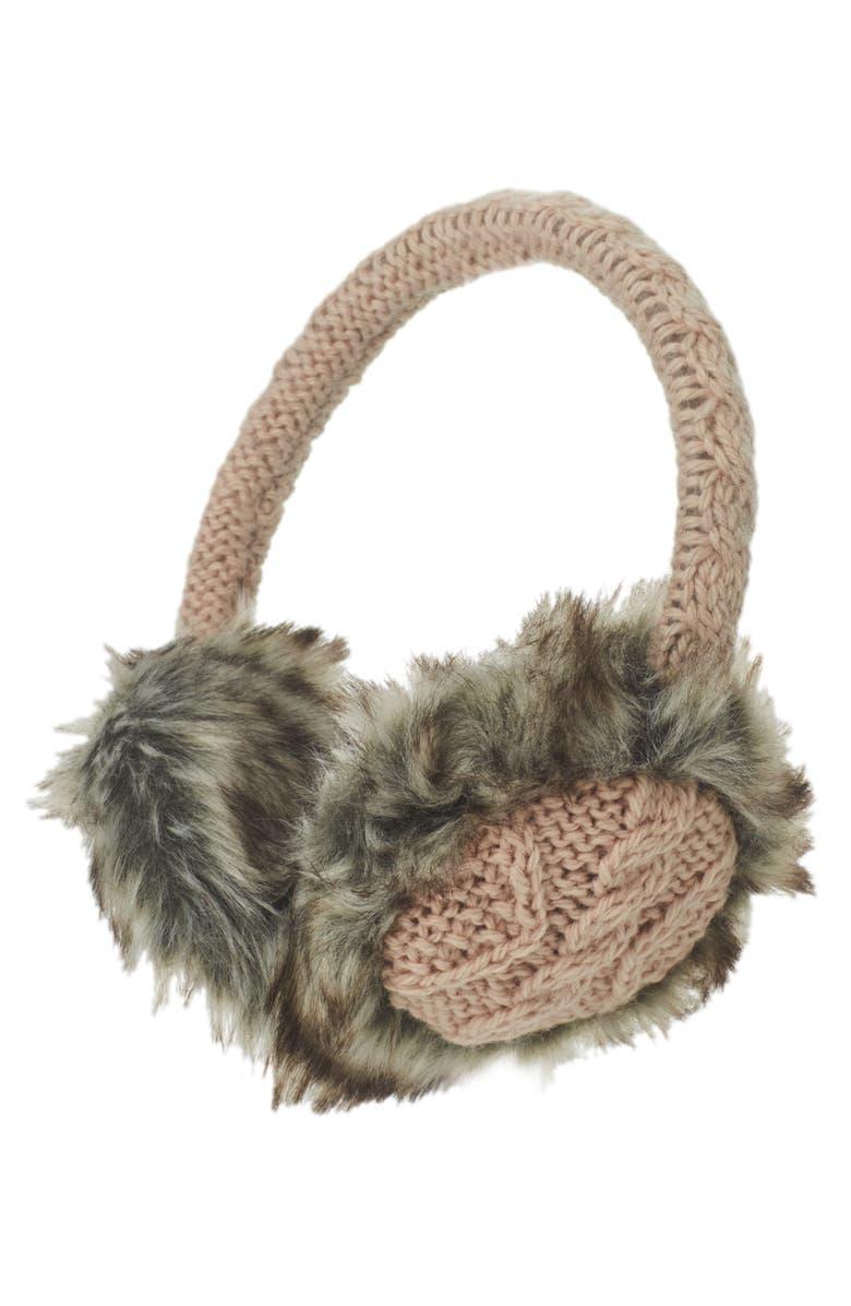 NIRVANNA DESIGNS Wool & Faux Fur Ear Muffs, Main, color, PINK QUARTZ