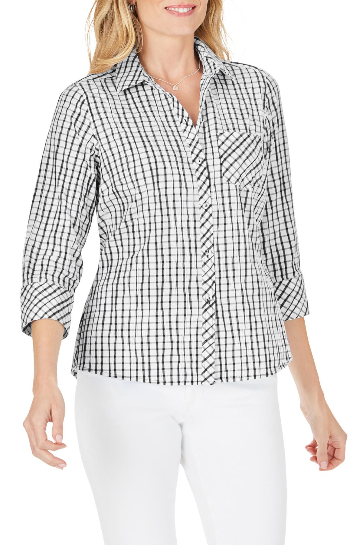 Image of FOXCROFT Hampton Crinkle Plaid Print Shirt