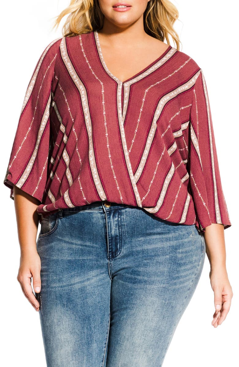 CITY CHIC Paprika Spice Stripe Surplice Top, Main, color, PAPRIKA SPICE