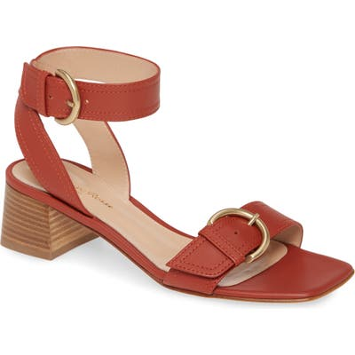 Gianvito Rossi Buckle Ankle Strap Block Heel Sandal - Red