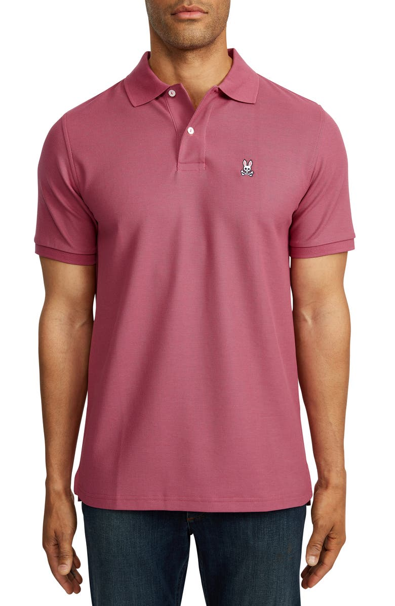 PSYCHO BUNNY Classic Solid Piqué Polo, Main, color, MULBERRY