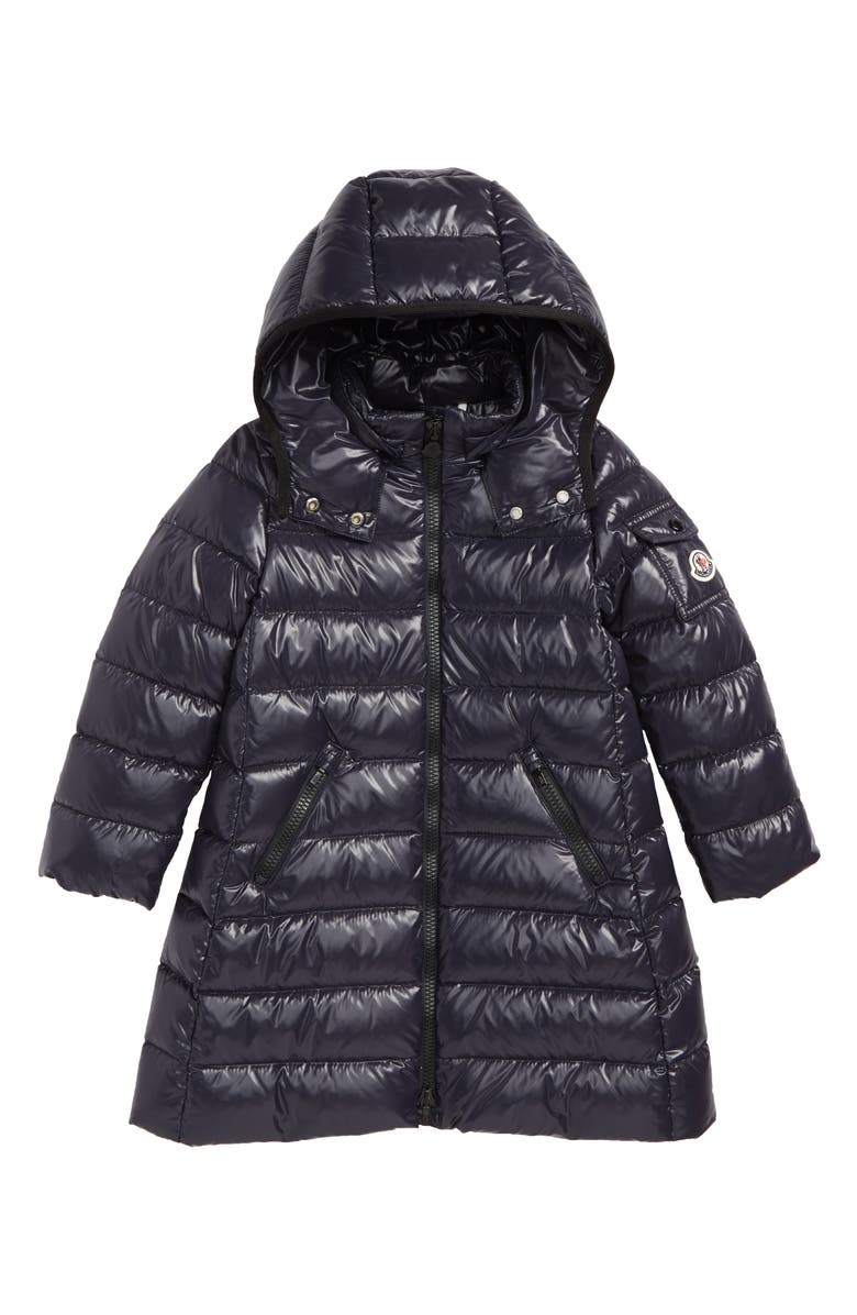 MONCLER Moka Long Hooded Water Resistant Down Jacket, Main, color, NAVY