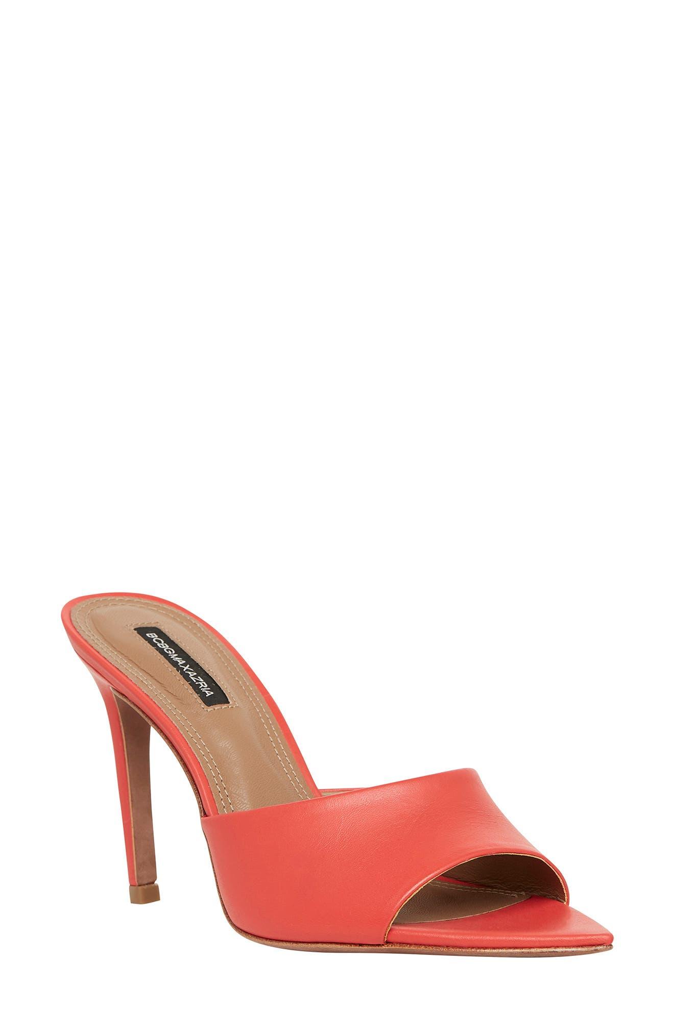 Red Slides Wedges SALE High Heeled Sandals Red and BeigeTan Sandals