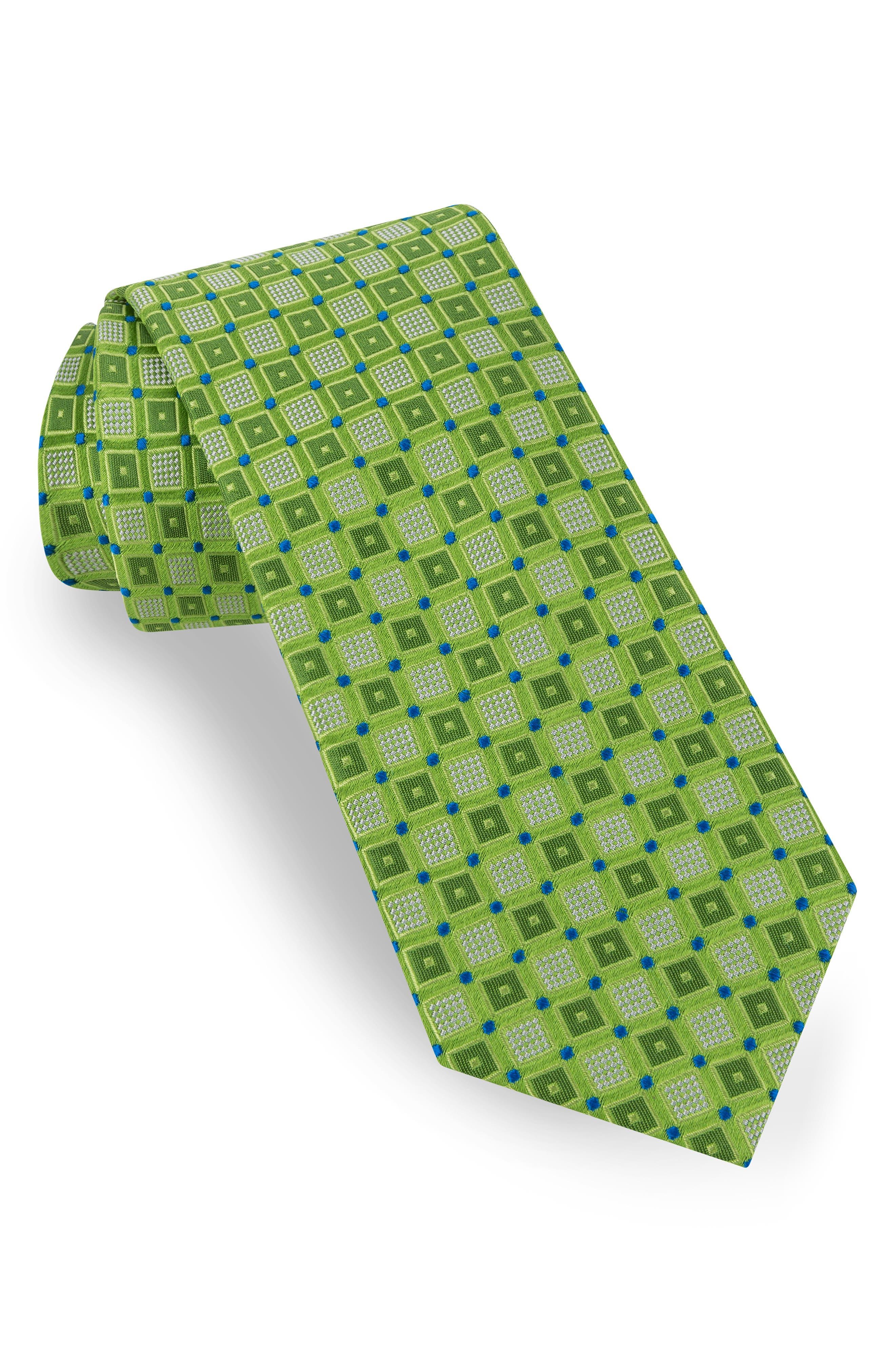 Outline Box Silk Tie, Main, color, GREEN
