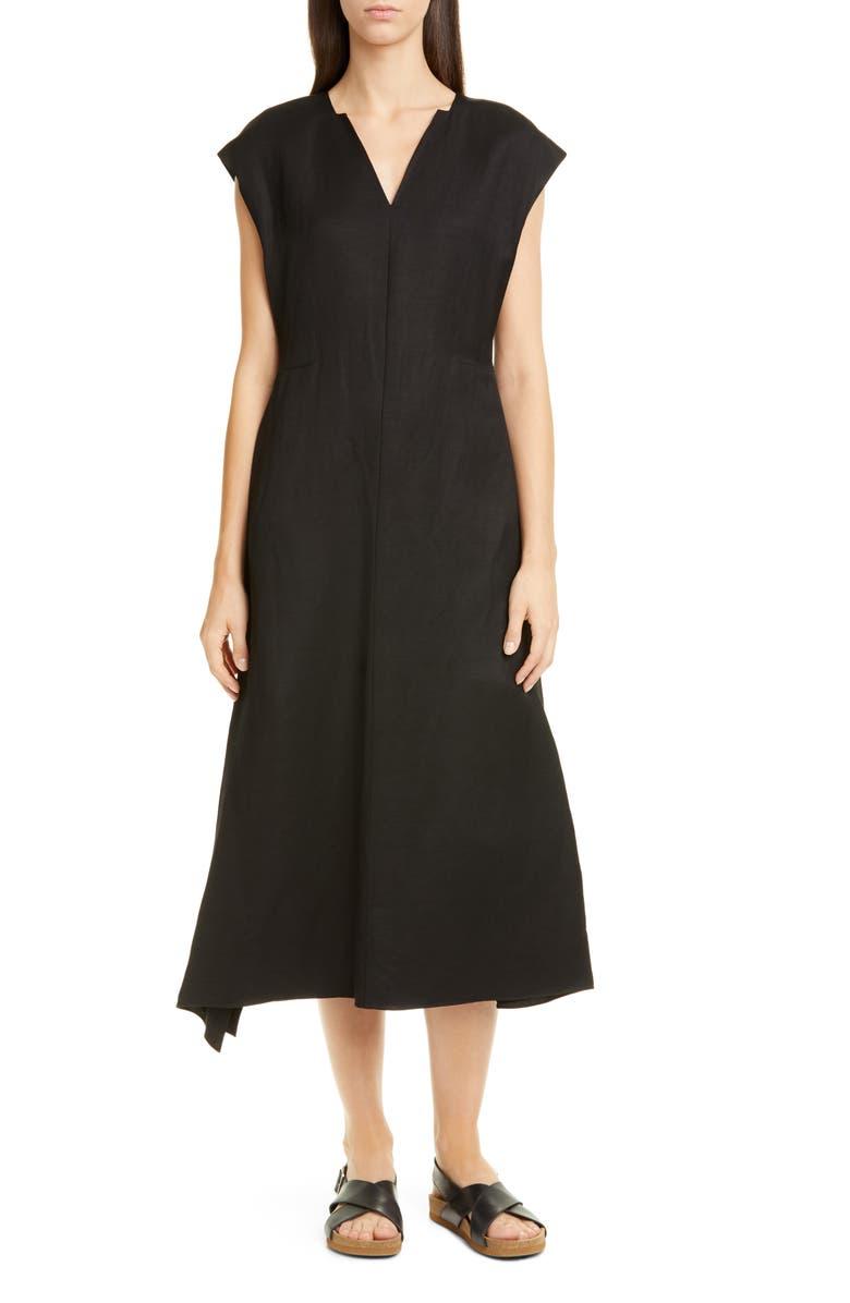 PARTOW Georgia Belted Linen Blend Midi Dress, Main, color, BLACK