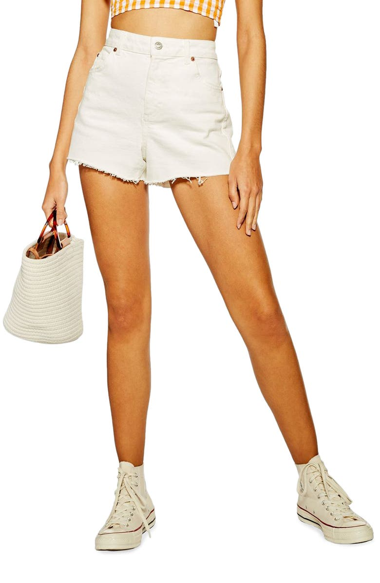 TOPSHOP Premium Denim Mom Shorts, Main, color, WHITE
