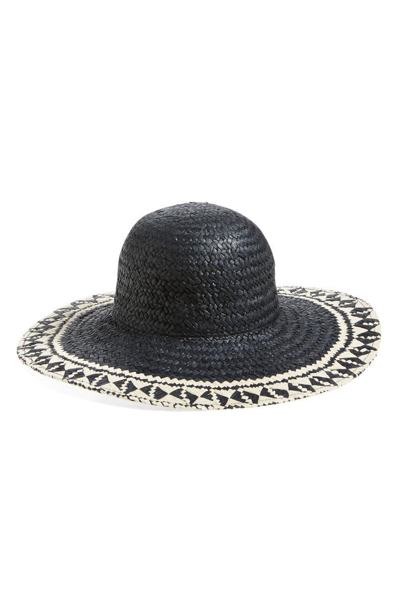 T+C BY THEODORA & CALLUM Chevron Floppy Straw Hat, Main, color, 001