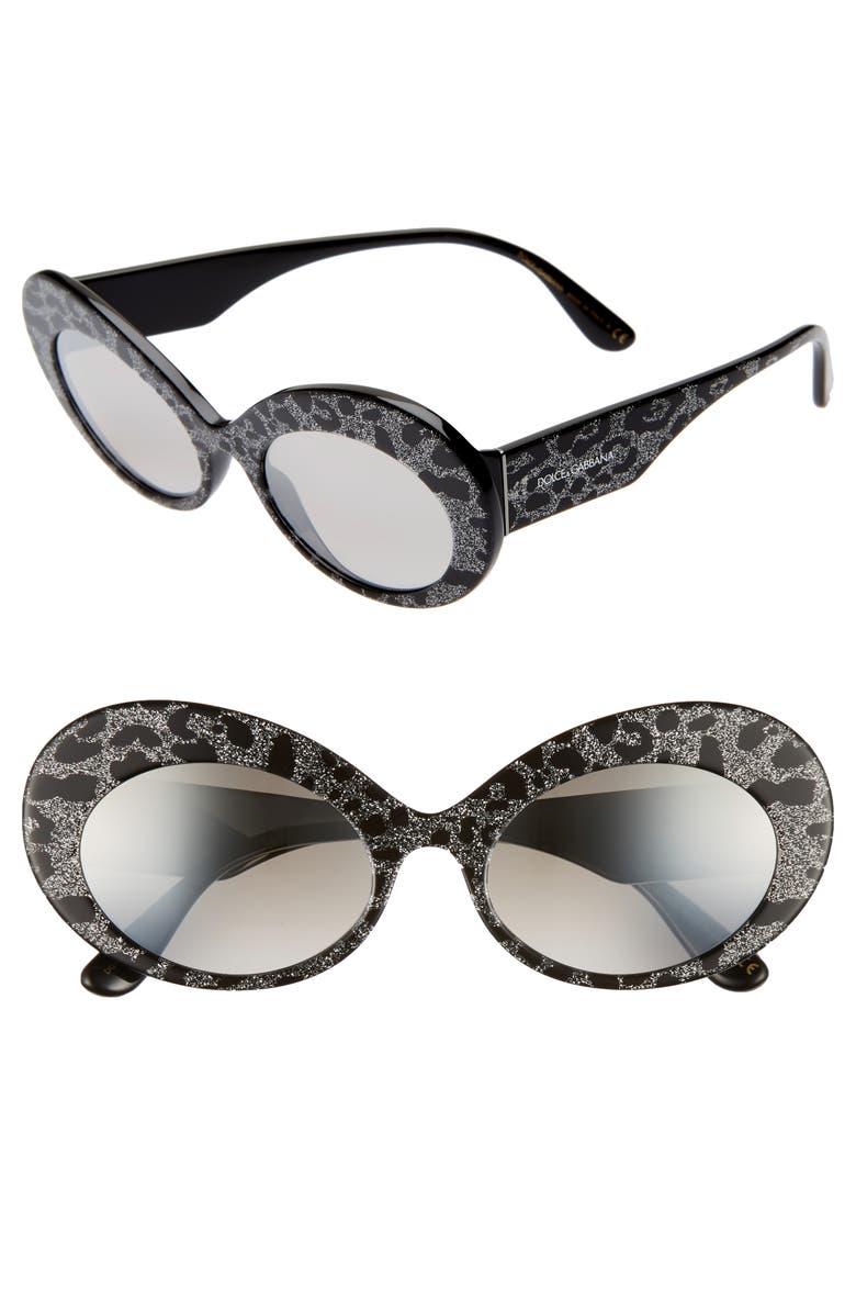 DOLCE&GABBANA 55mm Gradient Oval Sunglasses, Main, color, BLACK LEOPARD GRADIENT MIRROR