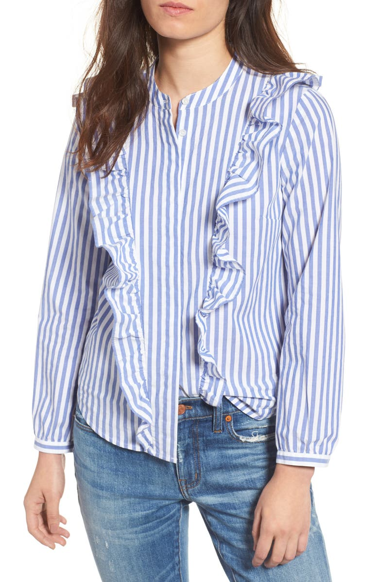 MADEWELL Whitney Stripe Ruffle Blouse, Main, color, 412