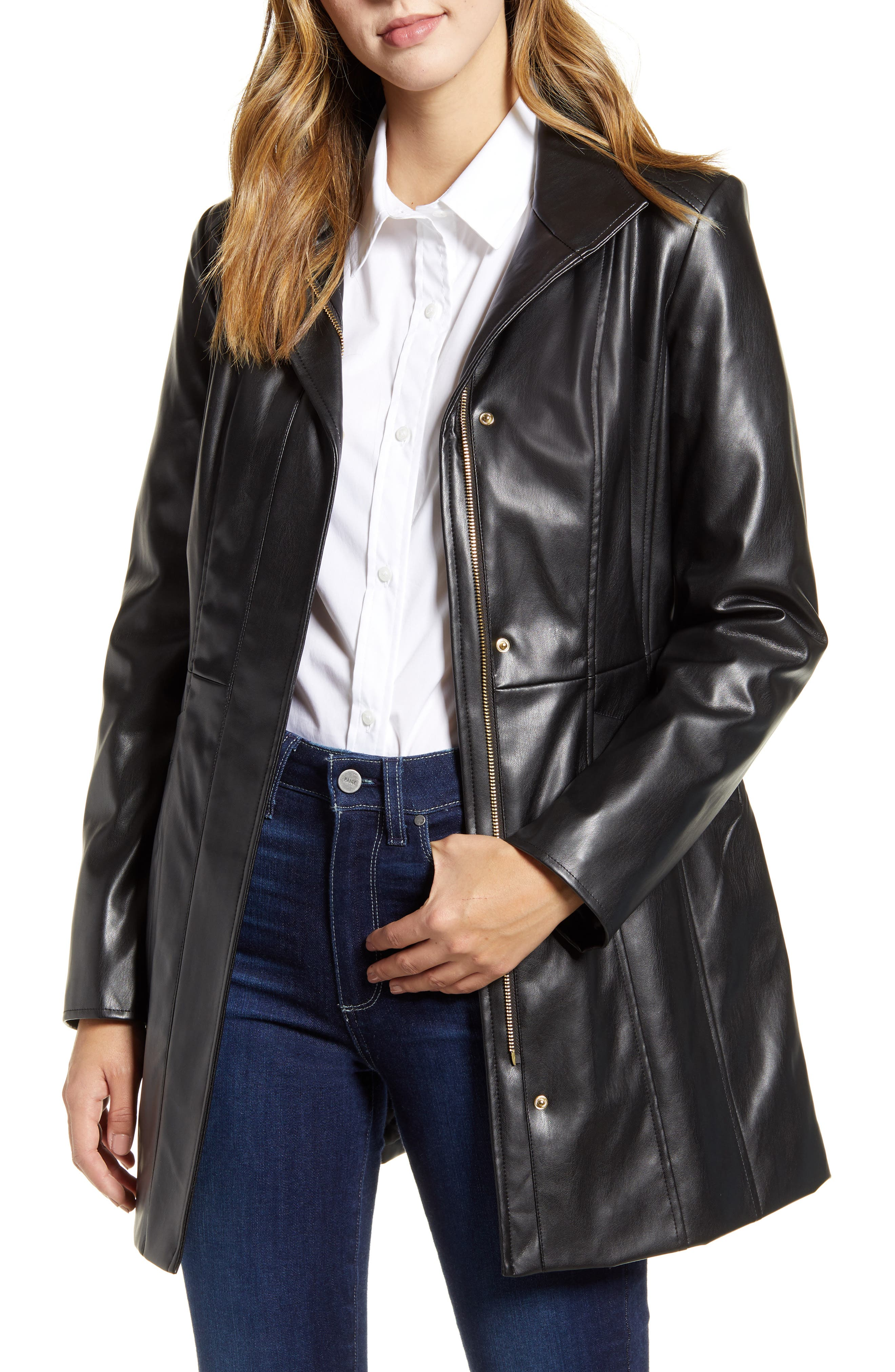 Cole Haan Signature Faux Leather Car Coat