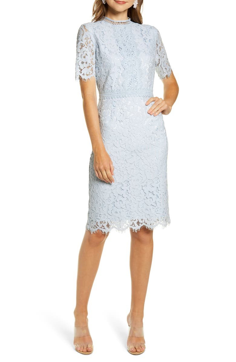 RACHEL PARCELL Lace Sheath Dress, Main, color, BLUE AIR