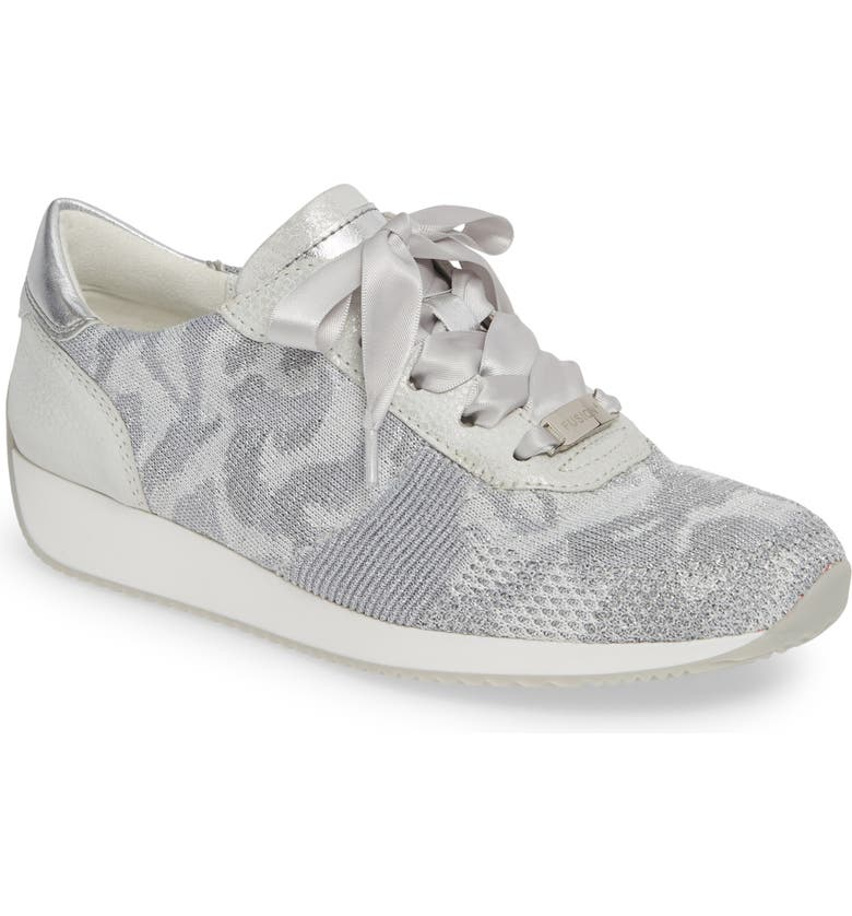 ARA Lilly Sneaker, Main, color, SILVER CAMOUFLAGE WOVEN FABRIC