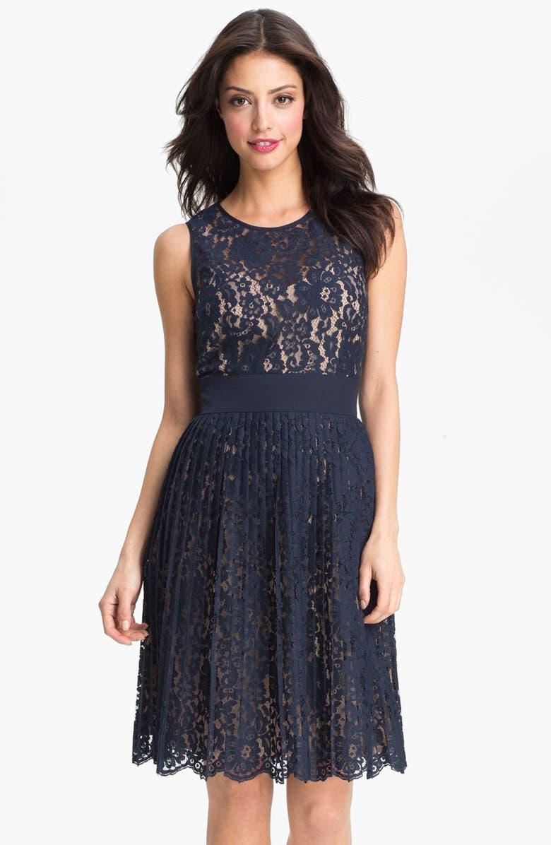 ELIZA J Lace Fit & Flare Dress, Main, color, 410