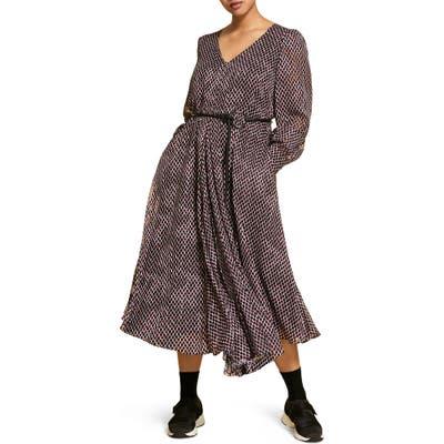 Plus Size Marina Rinaldi Duse-Devore Long Sleeve Midi Dress, Black