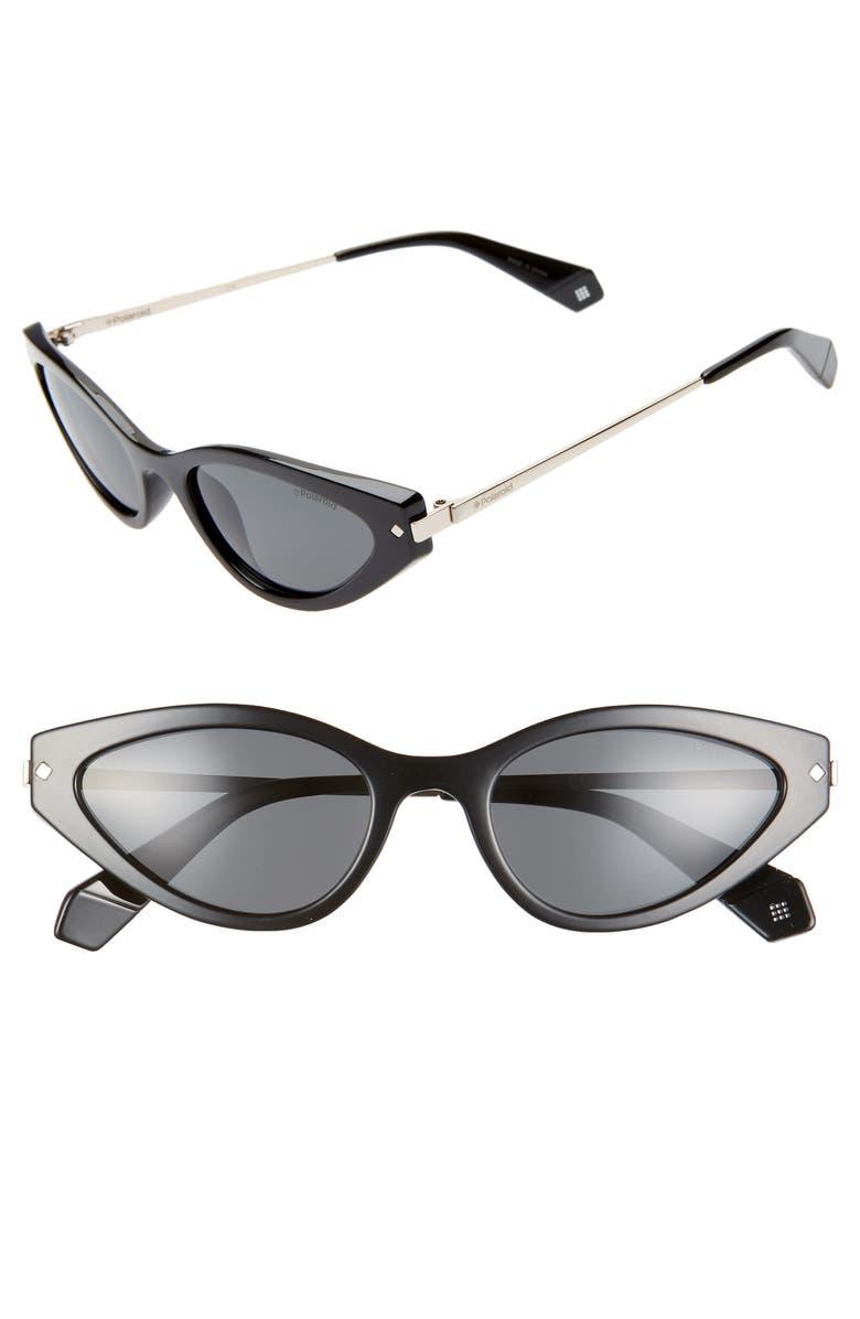 POLAROID 53mm Polarized Cat Eye Sunglasses, Main, color, 001