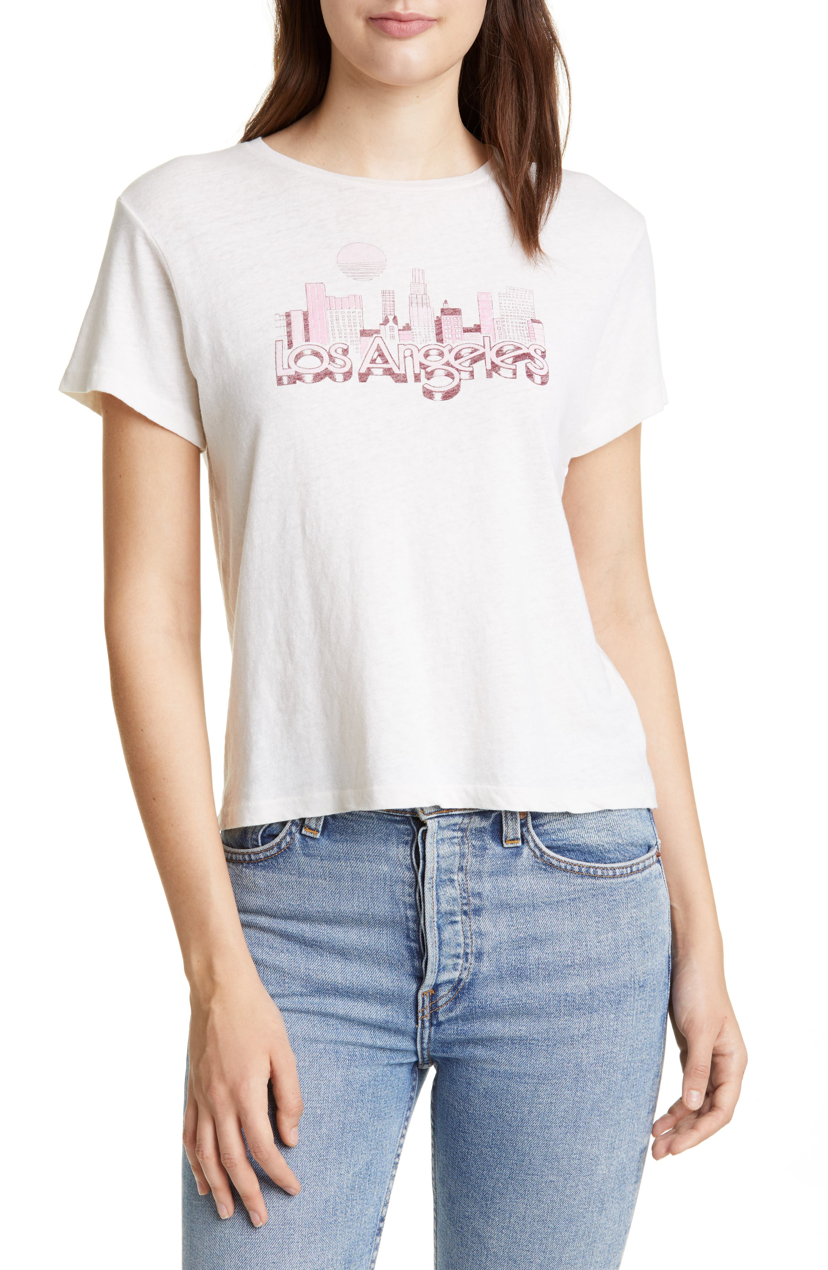 Re/done Classic Los Angeles Skyline Tee, White