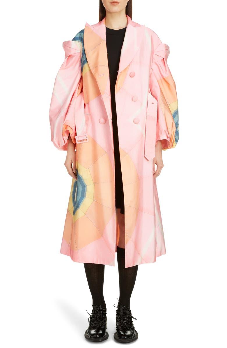 SIMONE ROCHA Double Breasted Taffeta Coat, Main, color, PINK