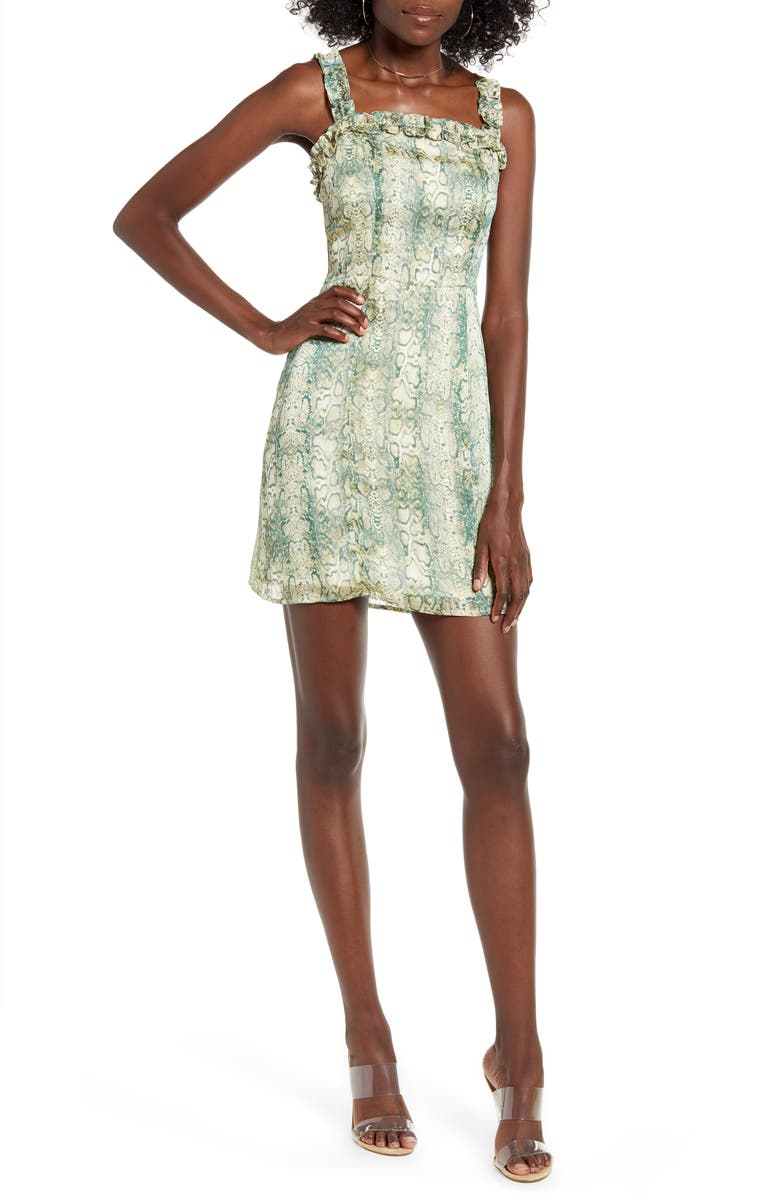 4SI3NNA Carrie Snakeskin Print Sleeveless Minidress, Main, color, GREEN SNAKEPRINT
