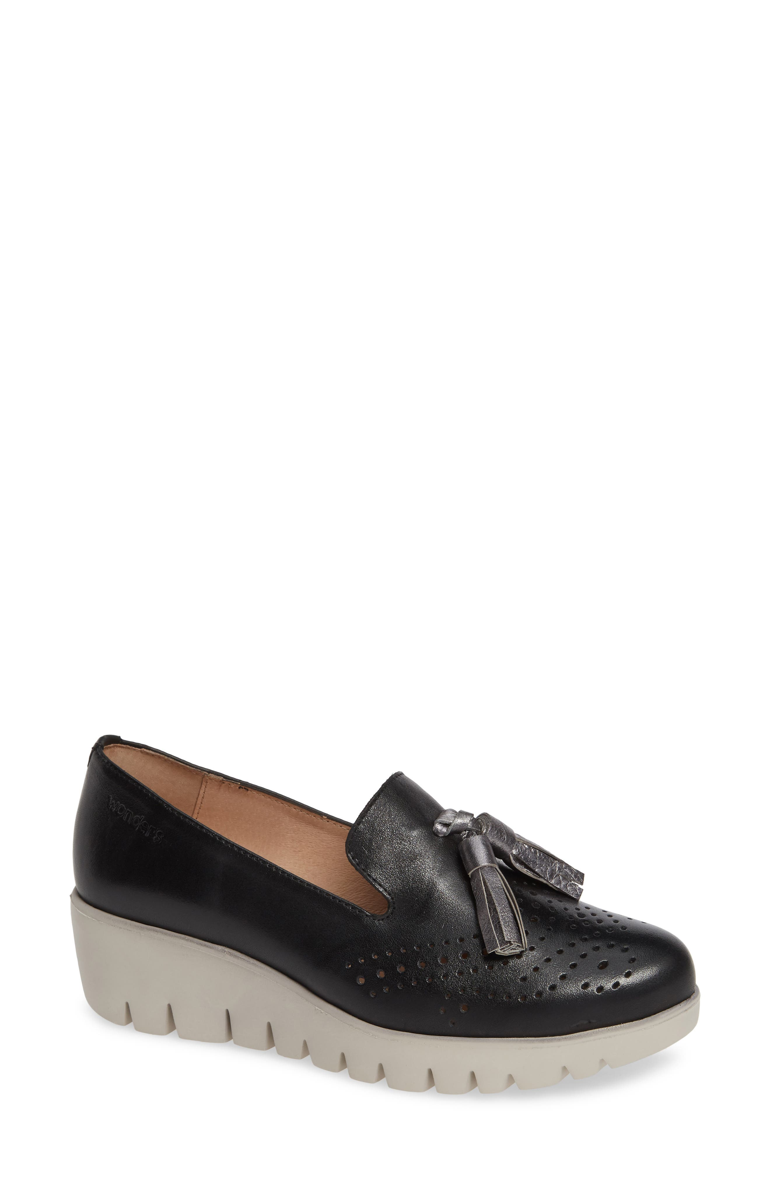 ,                             C-3366 Loafer Wedge,                             Main thumbnail 1, color,                             NEGRO/ PLOMO LEATHER