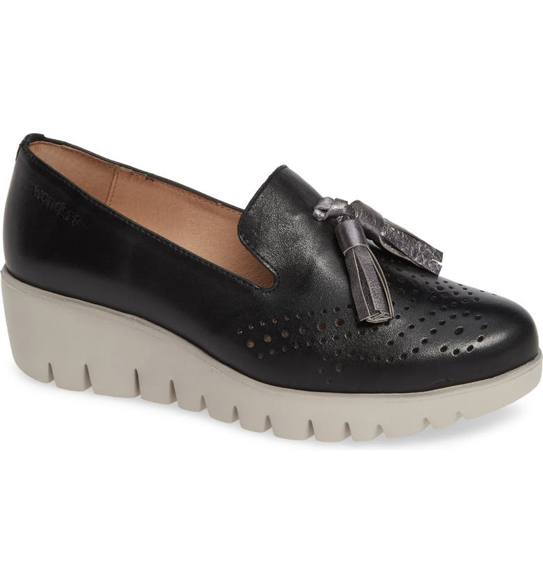 WONDERS C-3366 Loafer Wedge, Main, color, NEGRO/ PLOMO LEATHER
