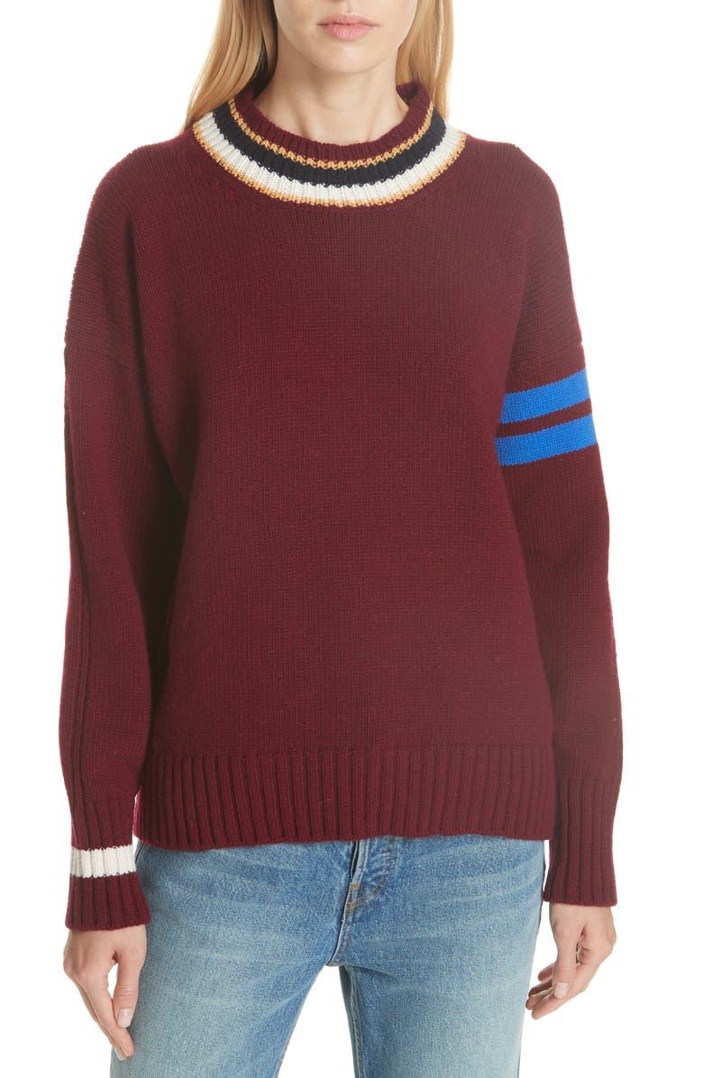 &DAUGHTER Rooska Stripe Crewneck Wool Sweater, Main, color, 930