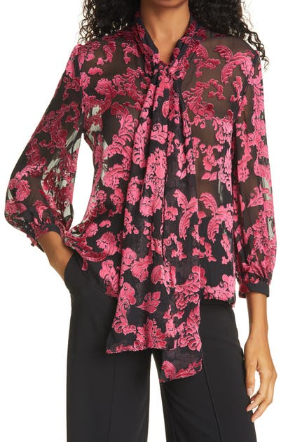 Alice And Olivia JEANNIE BOW SILK BURNOUT BLOUSE