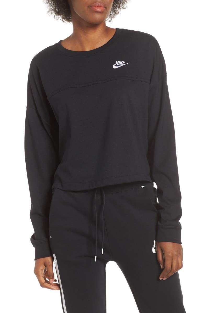 NIKE Sportswear Crewneck Sweatshirt, Main, color, BLACK/ BLACK/ WHITE