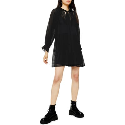 Topshop Dobby Long Sleeve Shift Dress, US (fits like 2-4) - Black