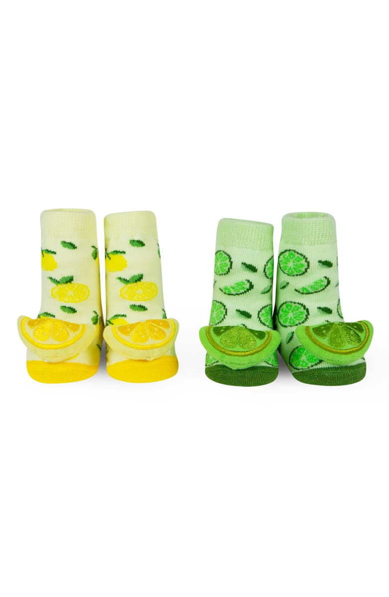 WADDLE Lemon & Lime 2-Pack Rattle Socks, Main, color, YELLOW/ GREEN