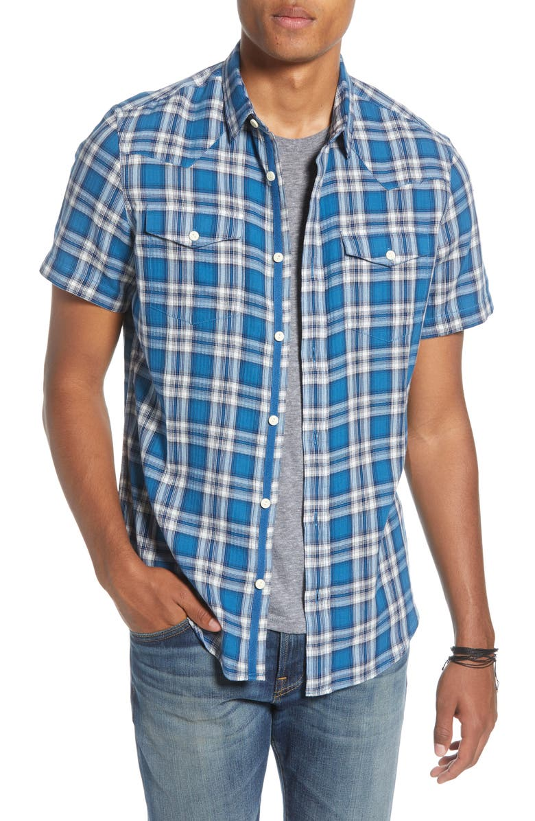 TREASURE & BOND Trim Fit Plaid Short Sleeve Button-Up Shirt, Main, color, BLUE DARK OMBRE PLAID TWILL