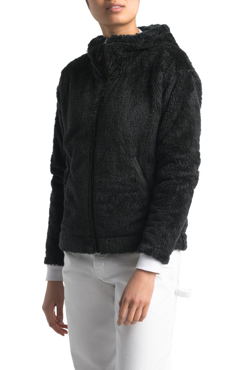 THE NORTH FACE Furry Fleece Hooded Jacket, Main, color, TNF BLACK