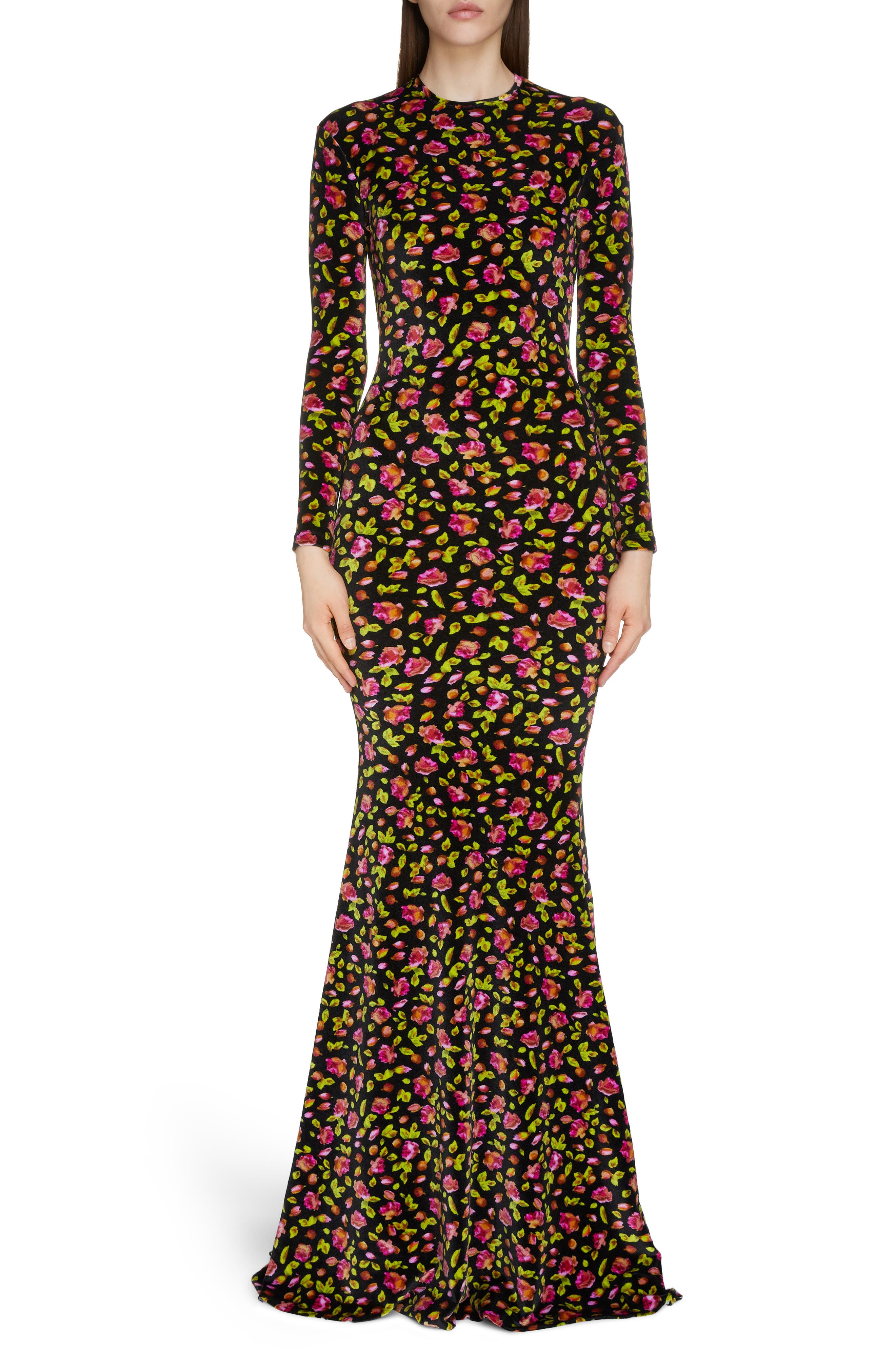 Balenciaga Rose Print Long Sleeve Stretch Velvet Mermaid Evening Gown, Black