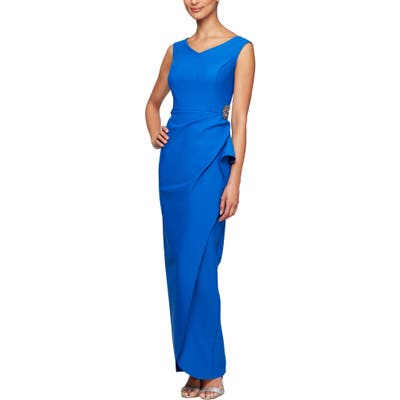Alex Evenings Faux Wrap Column Gown, Blue
