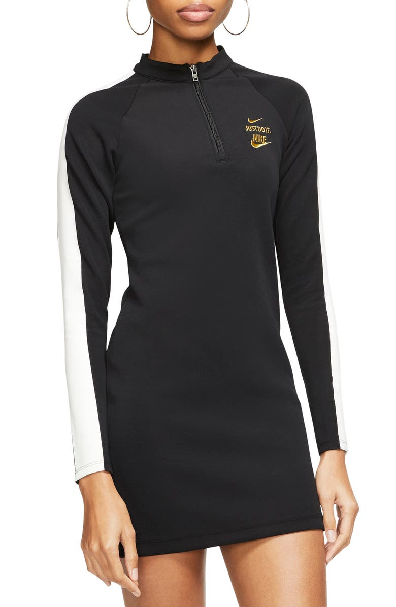 NIKE Sportswear Glam Dunk Long Sleeve Minidress, Main, color, 010