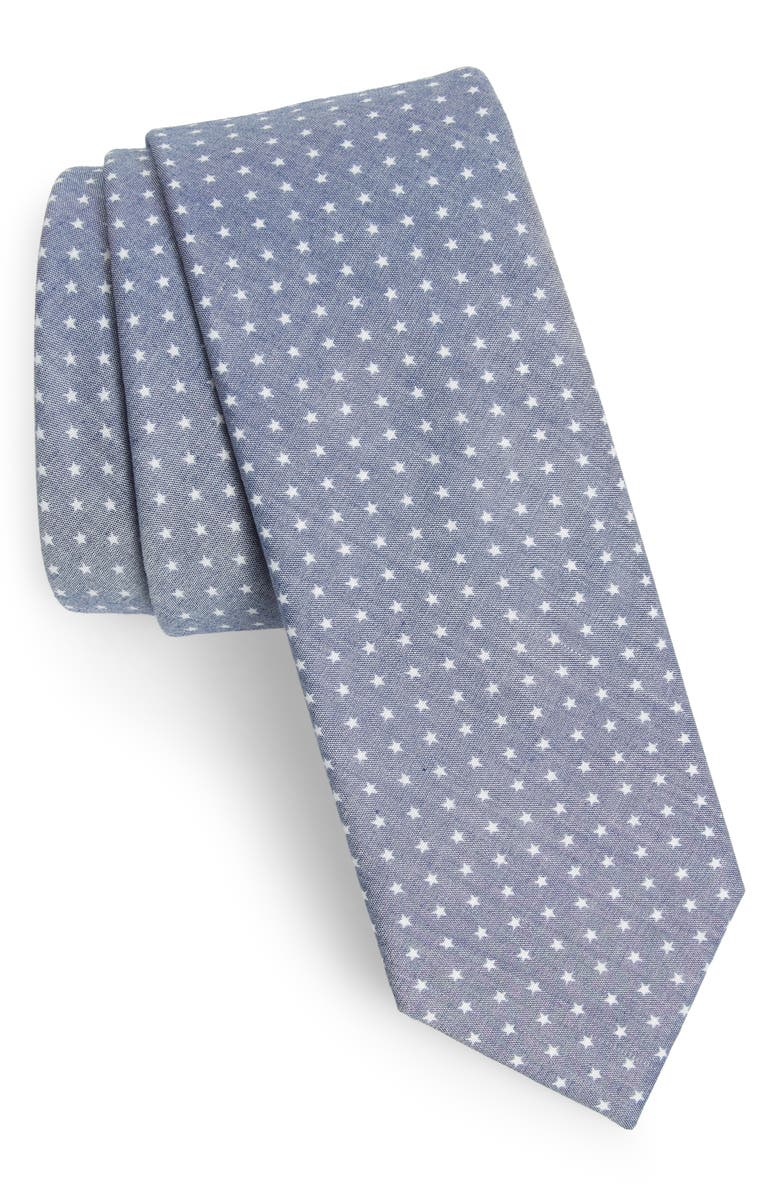 THE TIE BAR Summer Stars Cotton Tie, Main, color, 410