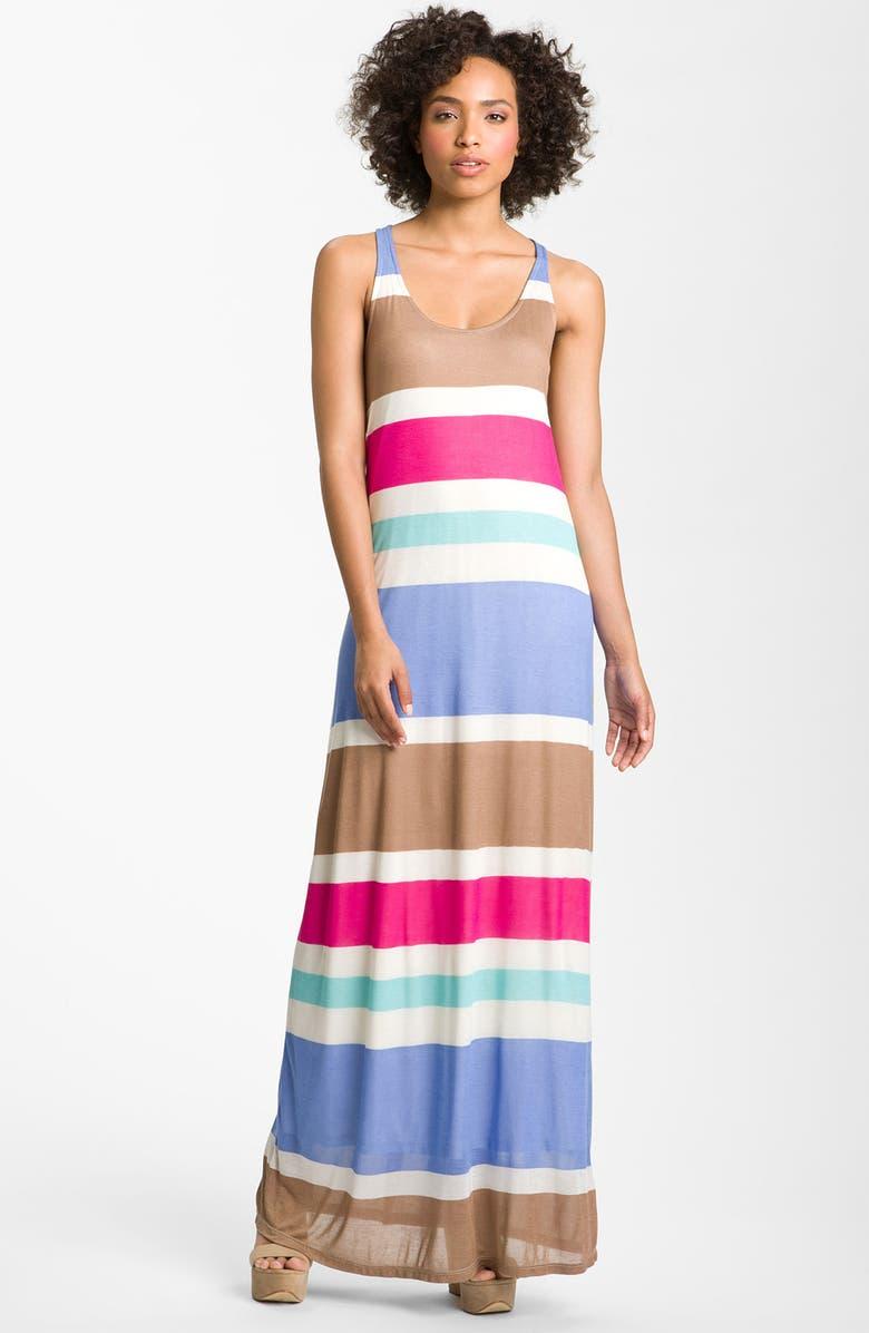 SPLENDID Racerback Stripe Maxi Dress, Main, color, 400